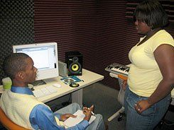 Making Beats:  Production students create their own hip-hop music.