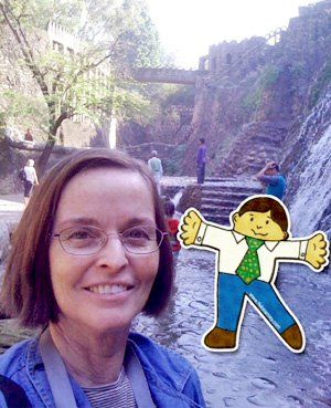 Suzie Boss with Flat Stanley in India.