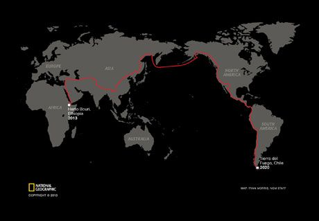 Homo sapiens set out to discover the Earth some 60,000 years ago, traveling from Ethiopia's Great Rift Valley to the farthest tip of South America. To retrace the diaspora, Paul Salopek has begun his own journey, a seven-year, 21,000-mile trek that touches four continents. (Click to enlarge.)