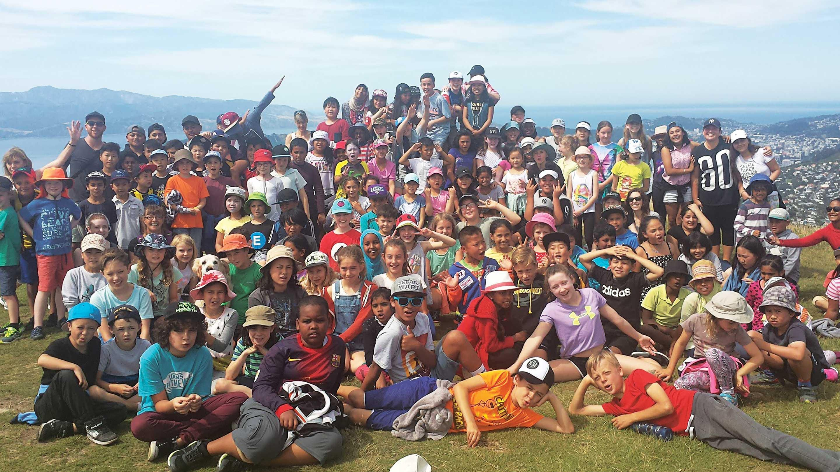 Photo provided by the author of a large group of students in New Zealand