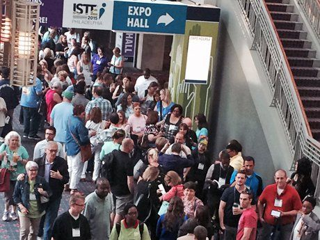 Crowded lobby scene at ISTE 2015 conference