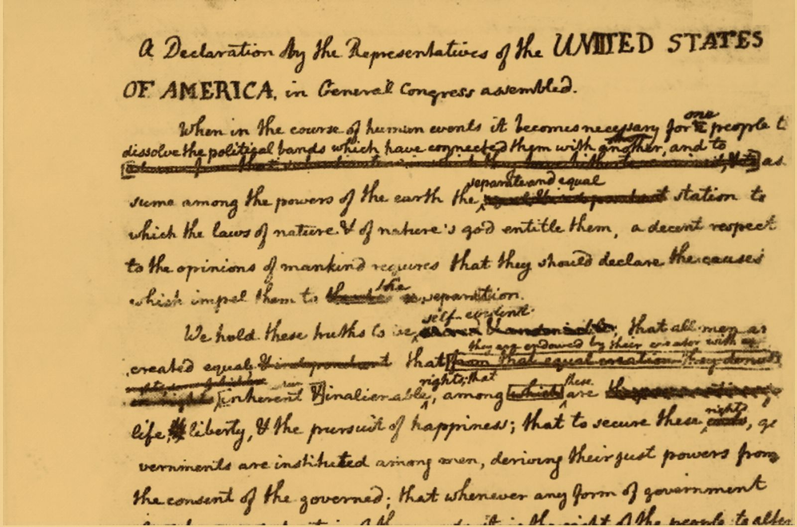 Thomas Jefferson's draft of the Declaration of Independence, with suggested changes by Ben Franklin. Does the decline of cursive threaten to sever our ties with the past?