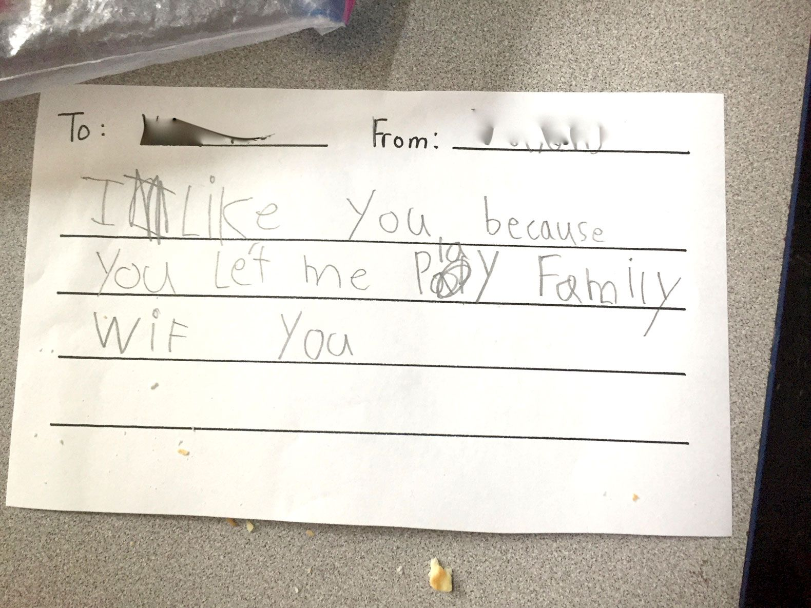 A snack note that one of Kerry Elson's students wrote to a classmate