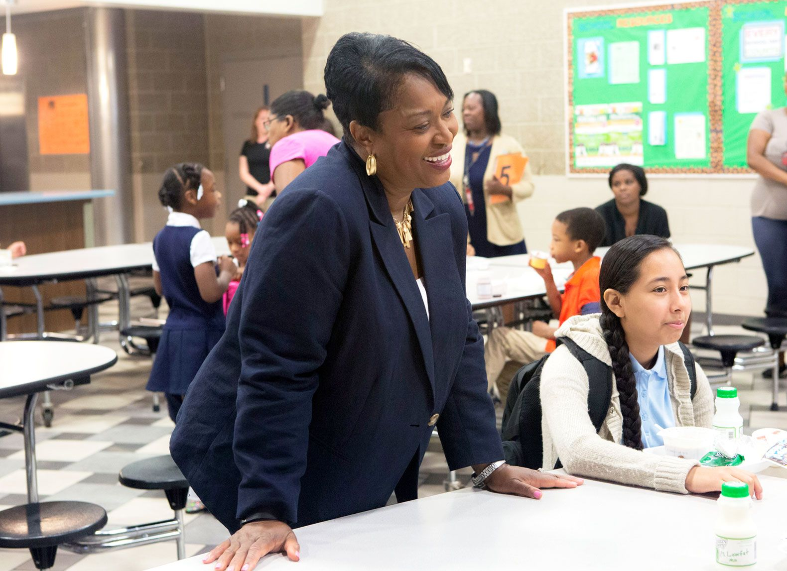 Grand Rapids Superintendent Teresa Weatherall Neal tours a school on the first day of the year. Neal has worked in the district for 35 years.