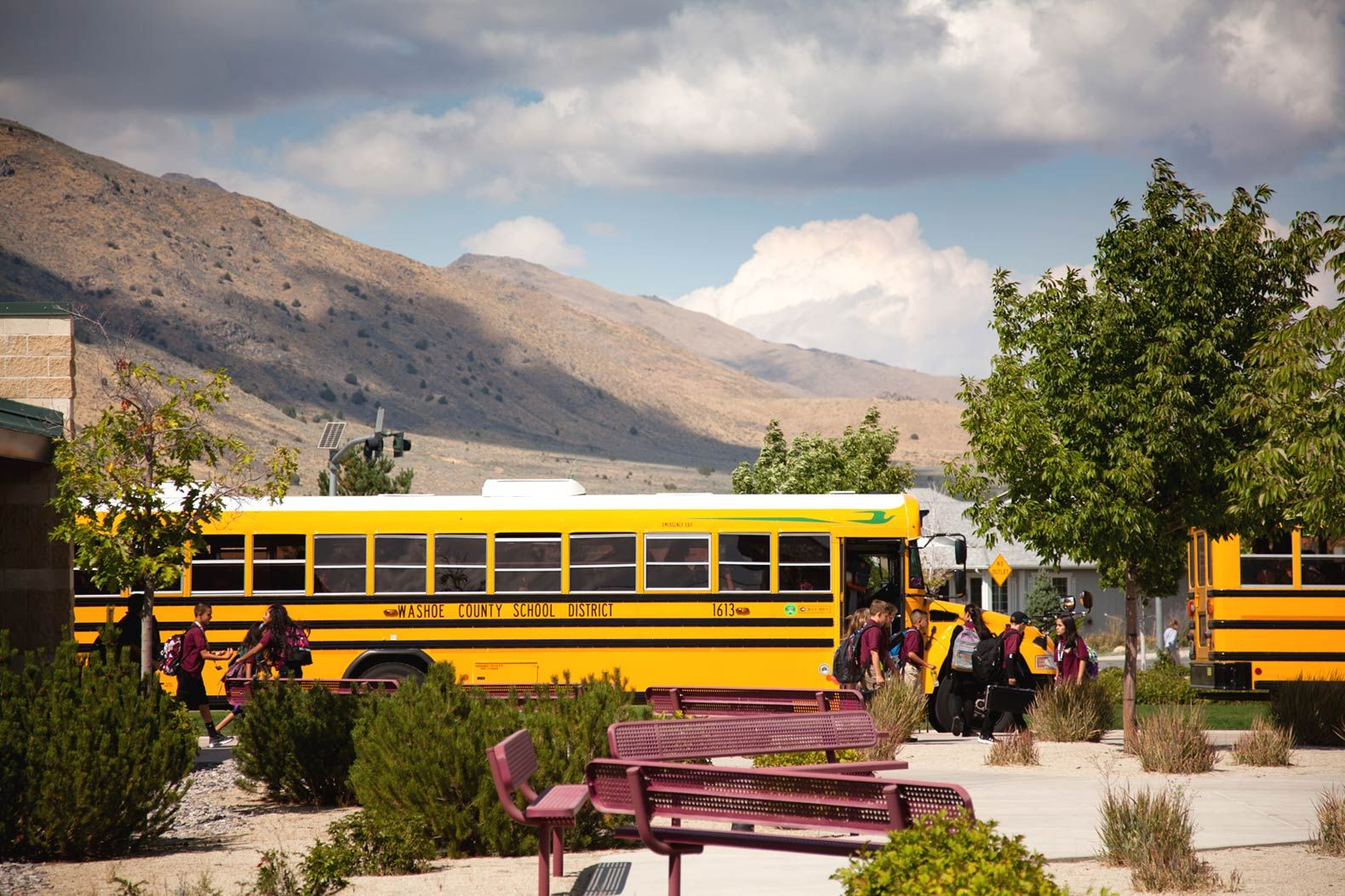 Cold Springs Middle School is located in a rural area roughly 20 miles from Reno. Wild horses sometimes roam the roads near the school.