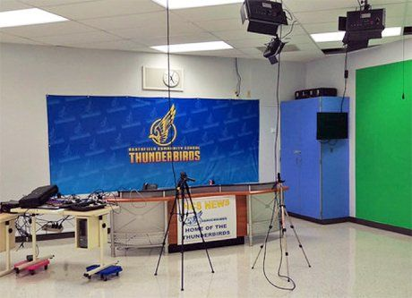 Northfield Community Middle School's video recording facility under construction.