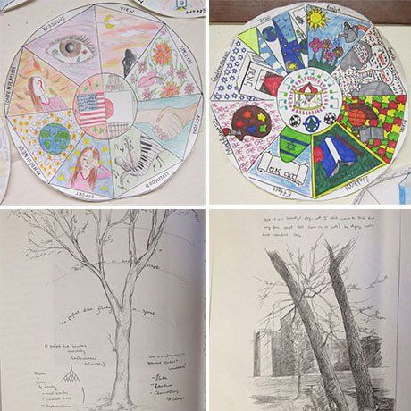 Personal mandalas from a world history project, and tree journals from an advanced biology project.