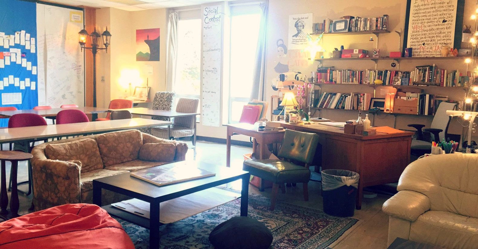 High school English teacher Rebecca Malmquist combines natural lighting with lamps to create a warm, inviting environment.
