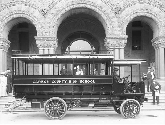 U.S. school bus circa 1912: Buses have come a long way since then.
