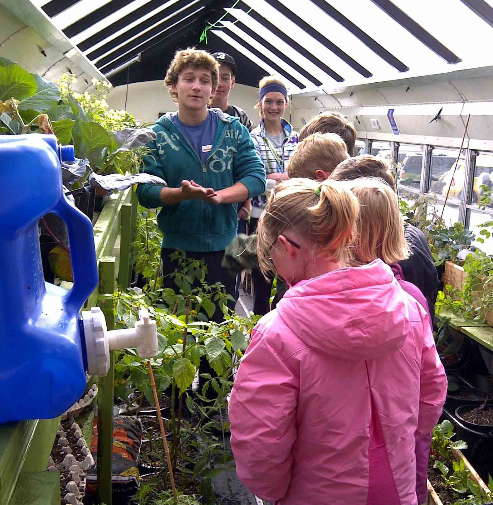 The bus visits elementary schools in Bozeman that can't afford gardens. Local high school students designed the lessons, connecting them to the district's science curriculum.