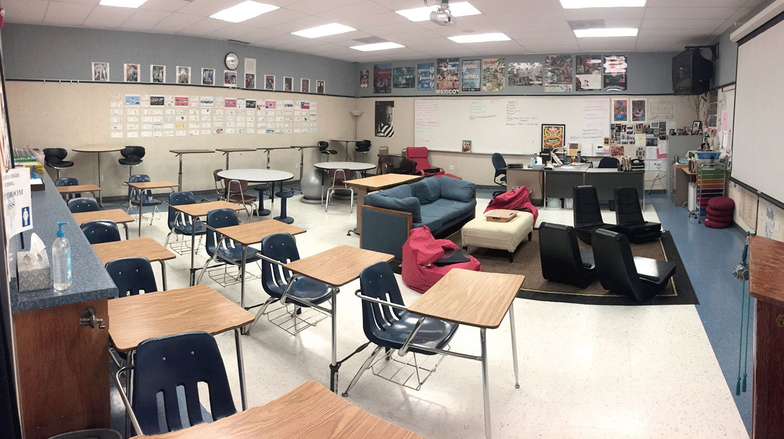 A view of Murray's full classroom, which represents a first-year transition from traditional to flexible seating.