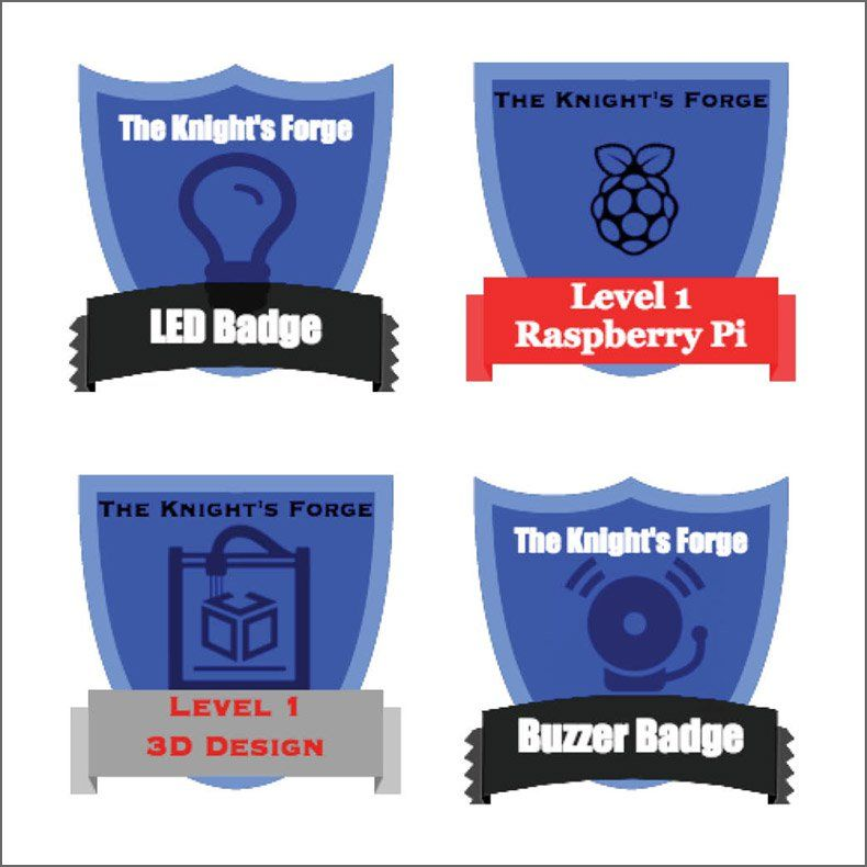 Students at the author's school can earn badges for learning a variety of skills.
