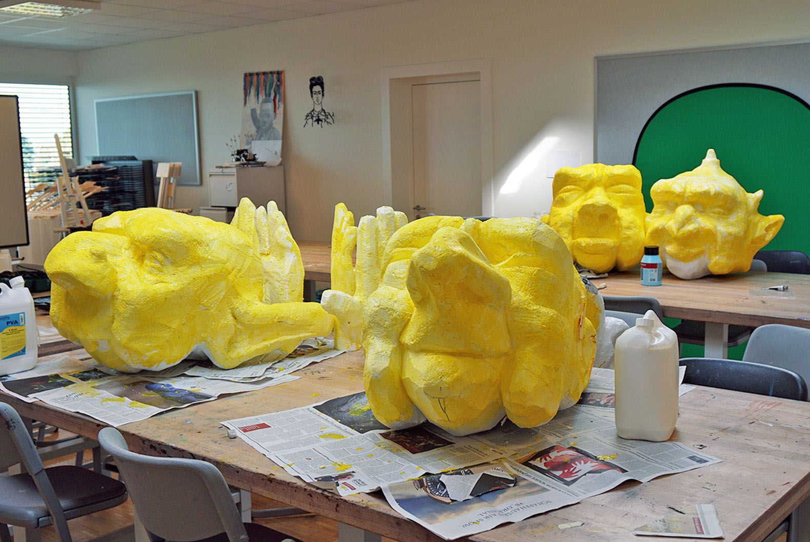 A touch of color transforms the Styrofoam heads.