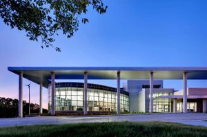 Large outdoor canopy in front of Ladybird Johnson Middle School in Irving, Texas.