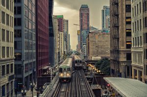 City trains on tracks