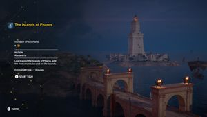 Screenshot of Assassin's Creed: Discovery Tour gameplay, in which the player visits the Pharos of Alexandria