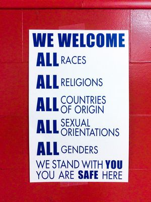 A safe space sign at Marysville Elementary School in Portland, Oregon.