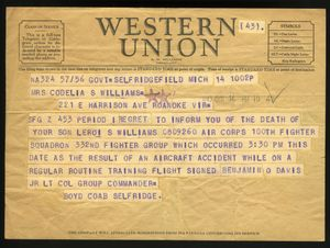 A telegram from Boyd Coab to Cordelia Williams notifies her of the death her son Leroi S. Willliams, killed in duty.