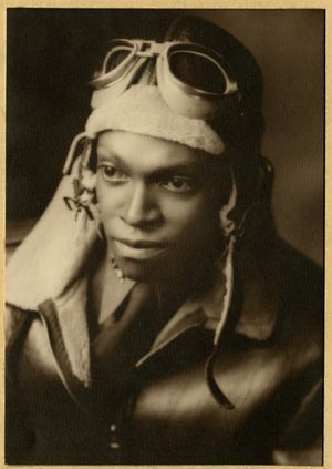 Photograph of Pilot LeRoi S. Williams in Tuskegee, Alabama, during WWII.