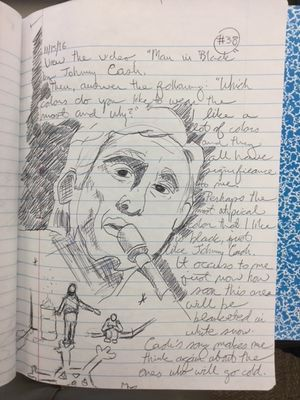 "A lined journal page with a large sketch of Johnny Cash and a student's thoughts on Johnny Cash's song ""Man in Black"""