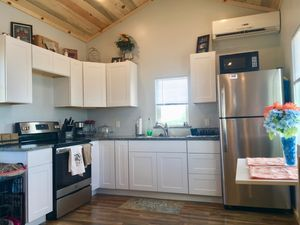 The kitchen of a tiny home for teachers in Vail, Arizona.