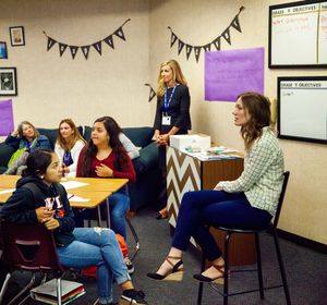 Educators at Valley View High School in California facilitate an iTime session with high school freshman to help improve teacher-student relationships and boost achievement.