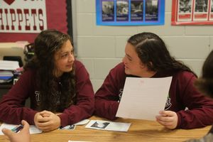 Two students work on a project on Selma in Jessica Dickens' class.