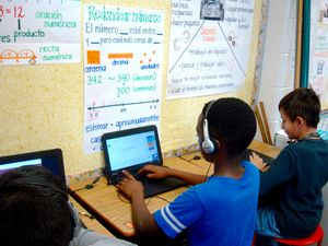 Students work at computers at Bethesda Elementary.