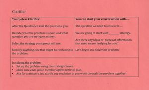 A handout given to a student tasked with the role of clarifier