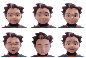 Milo the robot makes facial expressions.