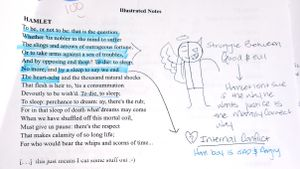 "A printout of Hamlet's ""to be or not to be"" soliloquy, marked with student notes and drawings"
