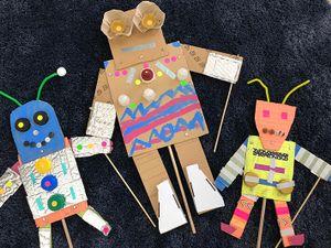 Handmade robot puppets