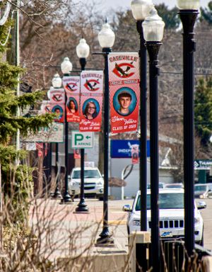 Banners line the street honoring Caseville Public School students.