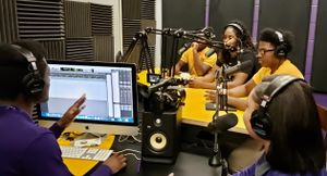 Students at Michele Clark Magnet High School in Chicago record a podcast.