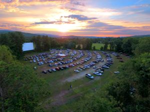 Cars line up at a drive-in movie theater in Massachusetts.