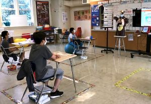 Students in a special education class at San Jose Middle School listen to a lesson.