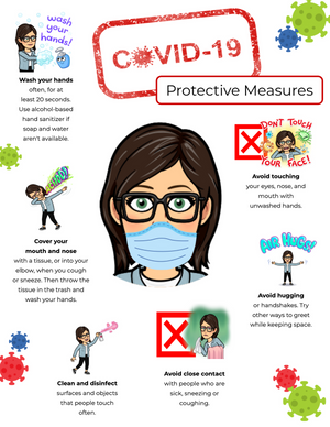 A Bitmoji protective measures COVID-19 poster