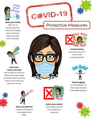A Bitmoji protective measures COVID-19 poster