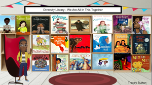 A Bitmoji diversity library filled with children's books reflecting different races and cultures