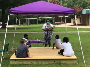 Teacher and students using outdoor classroom at North Rowan Elementary