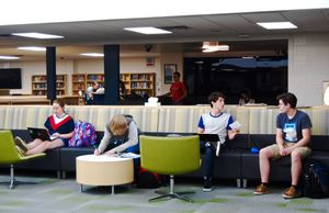 Students work in the library at Kettle Moraine High School.