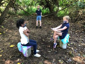 Students at St. Anne's Episcopal School attend school in their outdoor classroom