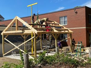 Outdoor classroom construction at Marshwood Great Works School in South Berwick, Maine