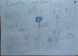 Elementary school newspaper Covidman comic