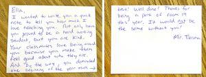 Handwritten note from teacher to student