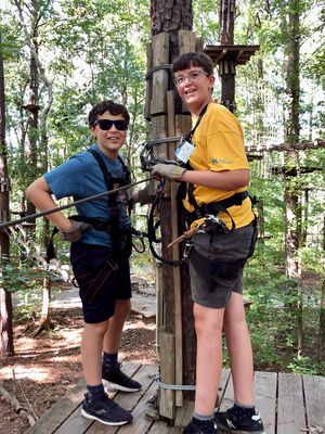 Boys from Fagell's school participate in an outdoor education activity.