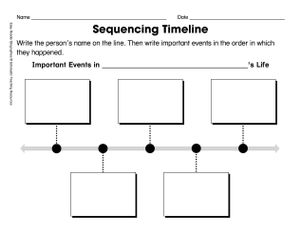 "An image of a piece of paper titled ""Sequencing Timeline."" There are five empty boxes along a line for students to write in important events in the order that they happened."