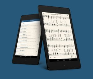 Illustration showing two views of the app MuseScore on tablet computers