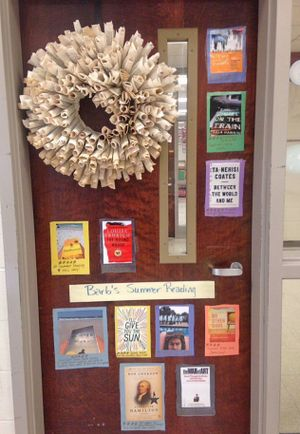 A door decorated with images of book covers