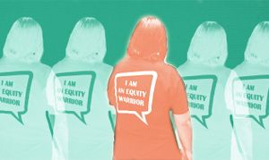 "An orange silhouette of a person wearing a t-shirt that says ""I am an Equity Warrior"" on the back. To the left and to the right are two more of the same silhouettes, but in green."